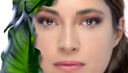 Beauty Brunette Woman. Skin Treatment. Spa