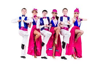 cabaret dancer team dressed in vintage costumes