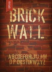 Fond de hotte en verre imprimé Affiche vintage Brick wall design template. Vector, EPS10