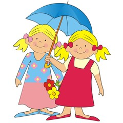 girls and umbrella