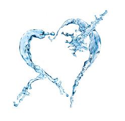 water splash heart shape