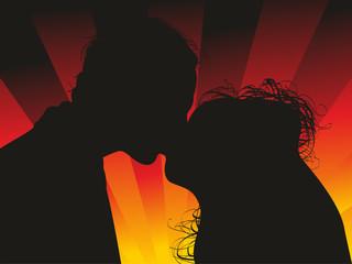 Bride nad groom kissing