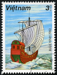 stamp printed in Vietnam shows ancient sailing ship