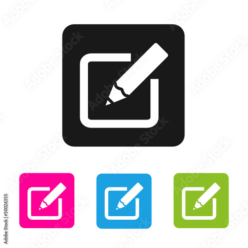 Edit Icon Vector Colored Rounded Square Shape Stock