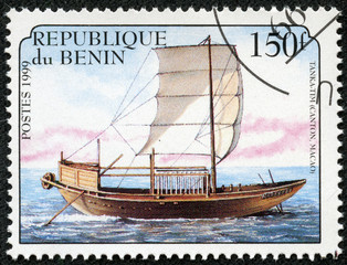 stamp shows image of a sailing ship