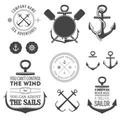 Set of nautical labels, icons and design elements