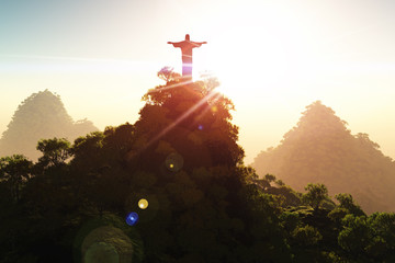 Wall Mural - Corcovado Mountain in the Sunset 3D render