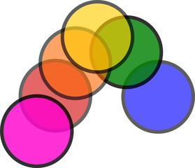 arcobaleno di filtri trasparenti