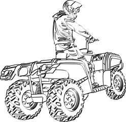 ATV off-road rider jumping