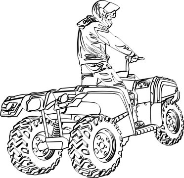 ATV off-road rider jumping