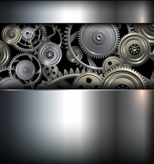 Technology background with metallic gears