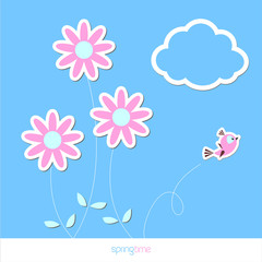 Spring flower background with bird