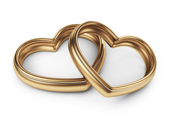 Gold two love ring. 3D Isolated on white background