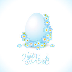 easter egg with blue flowers