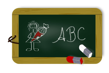 Tafel mit Schriftzug,  ABC