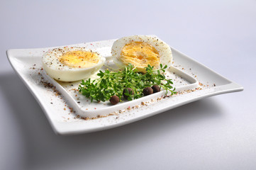 eggs and vegetables on a white plate