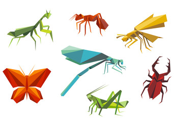 Insects set in origami style