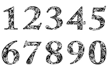 Digits and numbers with floral elements