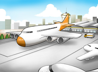 Poster Airplanes, balloon Cartoon illustration of an airport