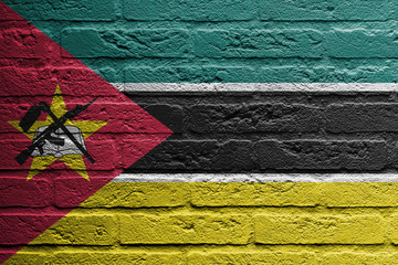 Brick wall with a painting of a flag, Mozambique