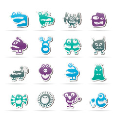 Garden Poster Creatures various abstract monsters illustration - vector icon set