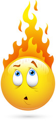 Smiley Vector Illustration - Fire on Head