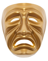 Tragedy theatrical mask isolated