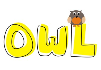 vector preschool illustration owl sitting on hand drawn word