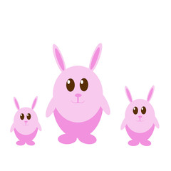 Three funny easter pink rabbits