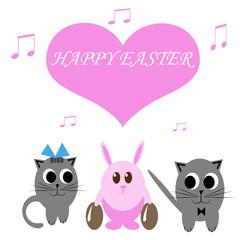 Funny pink rabbit with easter eggs and two cats