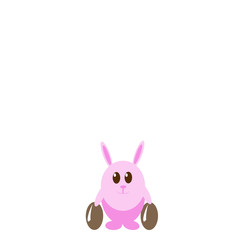 Funny pink rabbit with easter eggs