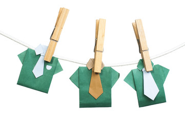 Origami shirts on rope