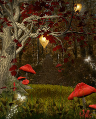 Fototapete - Enchanted nature series - The red forest