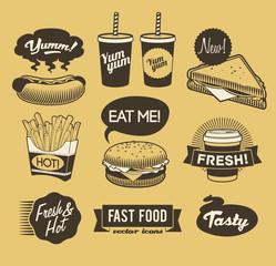 Fast food retro emblem