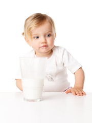 little girl drinks milk isolation is not a white background