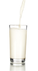 Fresh milk pouring into a glass