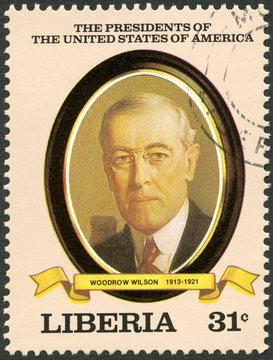LIBERIA - 1982: shows President Woodrow Wilson (1913-1921)
