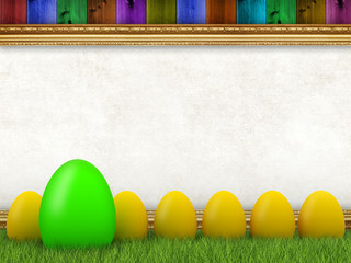 Easter background - easter eggs and blank sheet