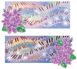 Spring banners with sakura and piano keys, vector