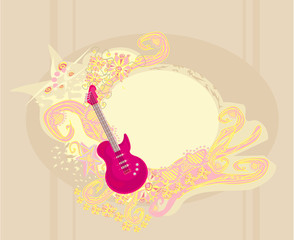 vector image of pink guitar with wide area for your information.