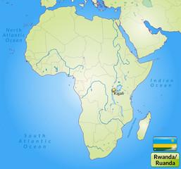 Übersichtskarte von Ruanda mit Landesflagge