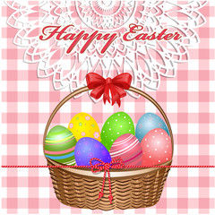 Easter basket with eggs on the tablecloth
