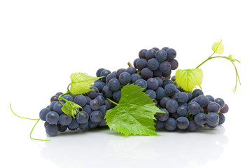 bunch of ripe grapes with green leaves close up