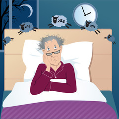 Middle age man with insomnia counting sheep