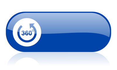 360 degrees panorama blue web glossy icon