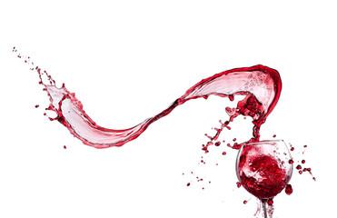 Wine splash over white