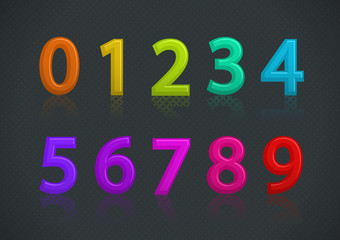 Vector set of colorful numbers on textured background