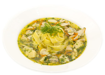 soup of vegetables and mushrooms in a restaurant