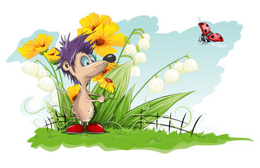Tuinposter Lieveheersbeestjes Vector card with flowers and little mouse
