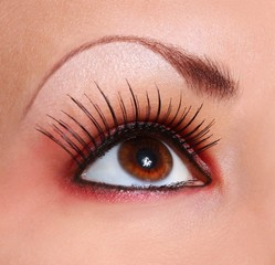 eye with long eyelashes, makeup